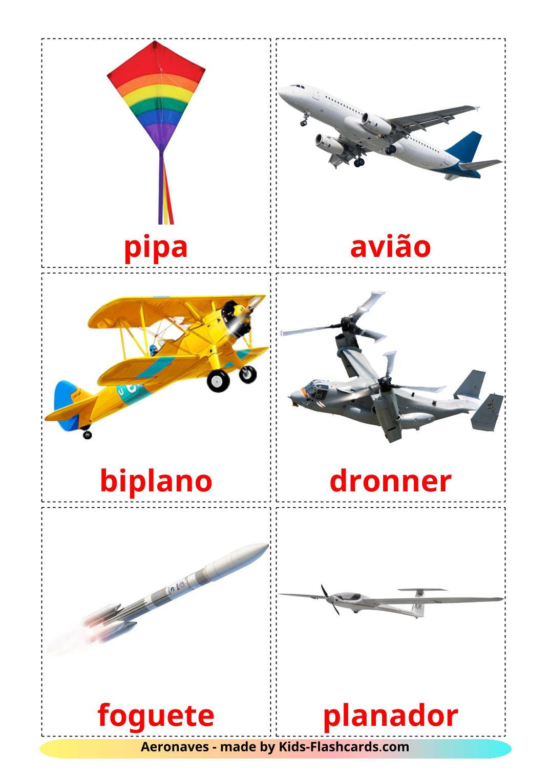 Aircraft - 14 Free Printable portuguese Flashcards