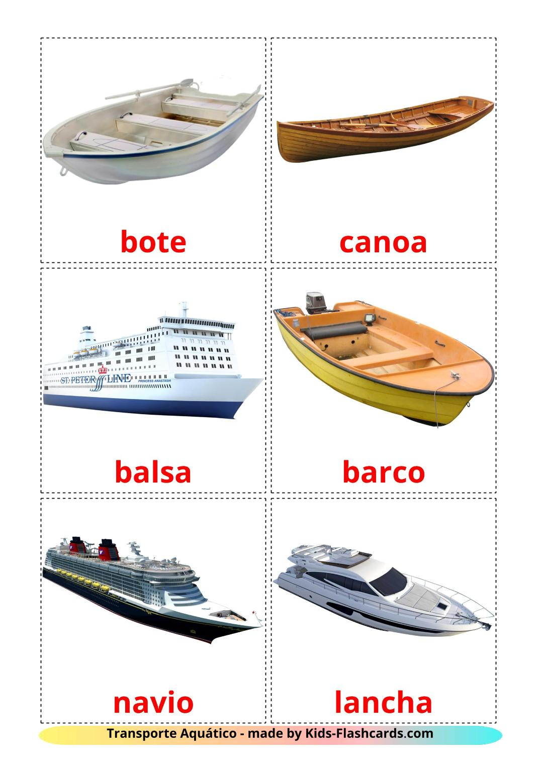 Water transport - 18 Free Printable portuguese Flashcards
