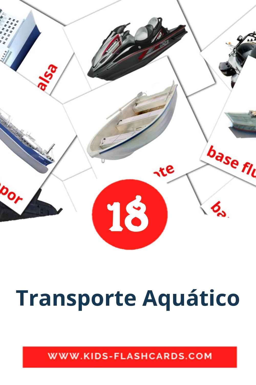 18 Transporte Aquático Picture Cards for Kindergarden in portuguese