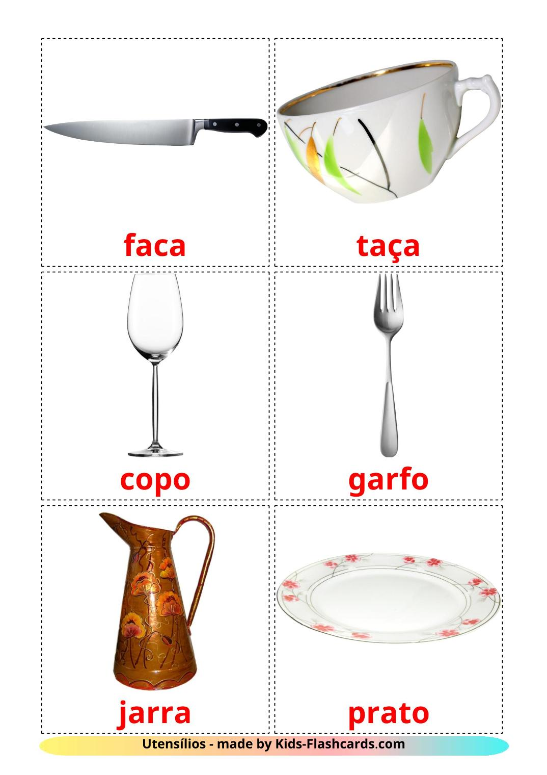 Crockery and cutlery - {2} Free Printable portuguese Flashcards