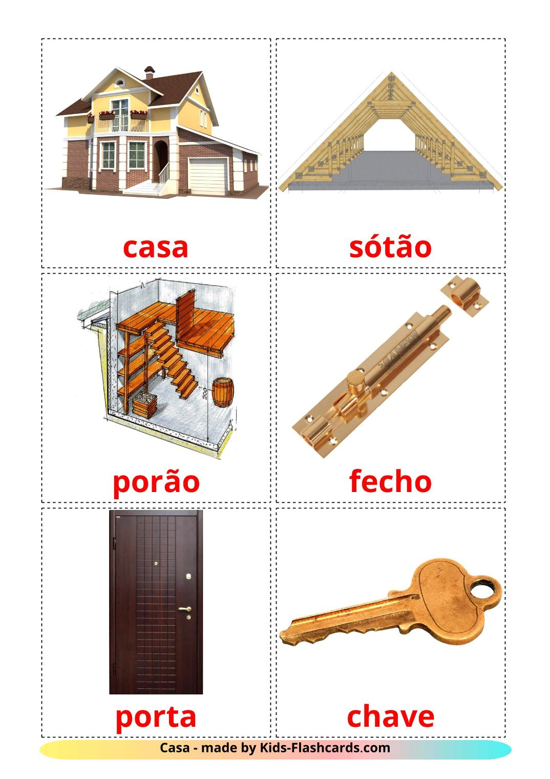 House - 25 Free Printable portuguese Flashcards