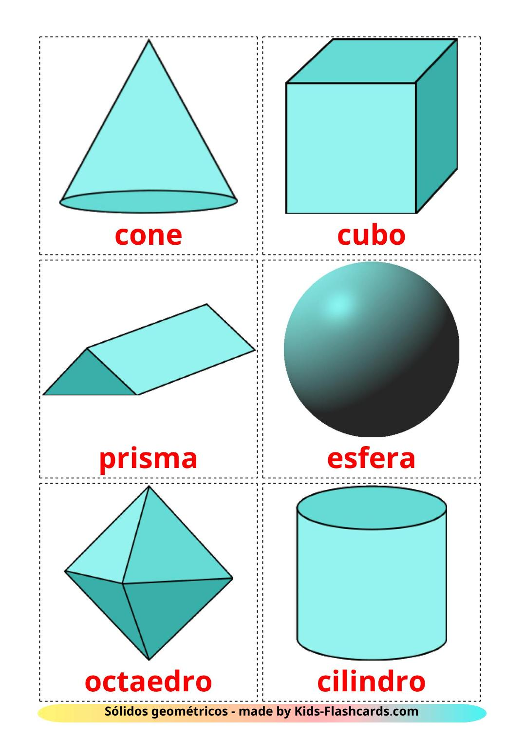 3D Shapes - 17 Free Printable portuguese Flashcards