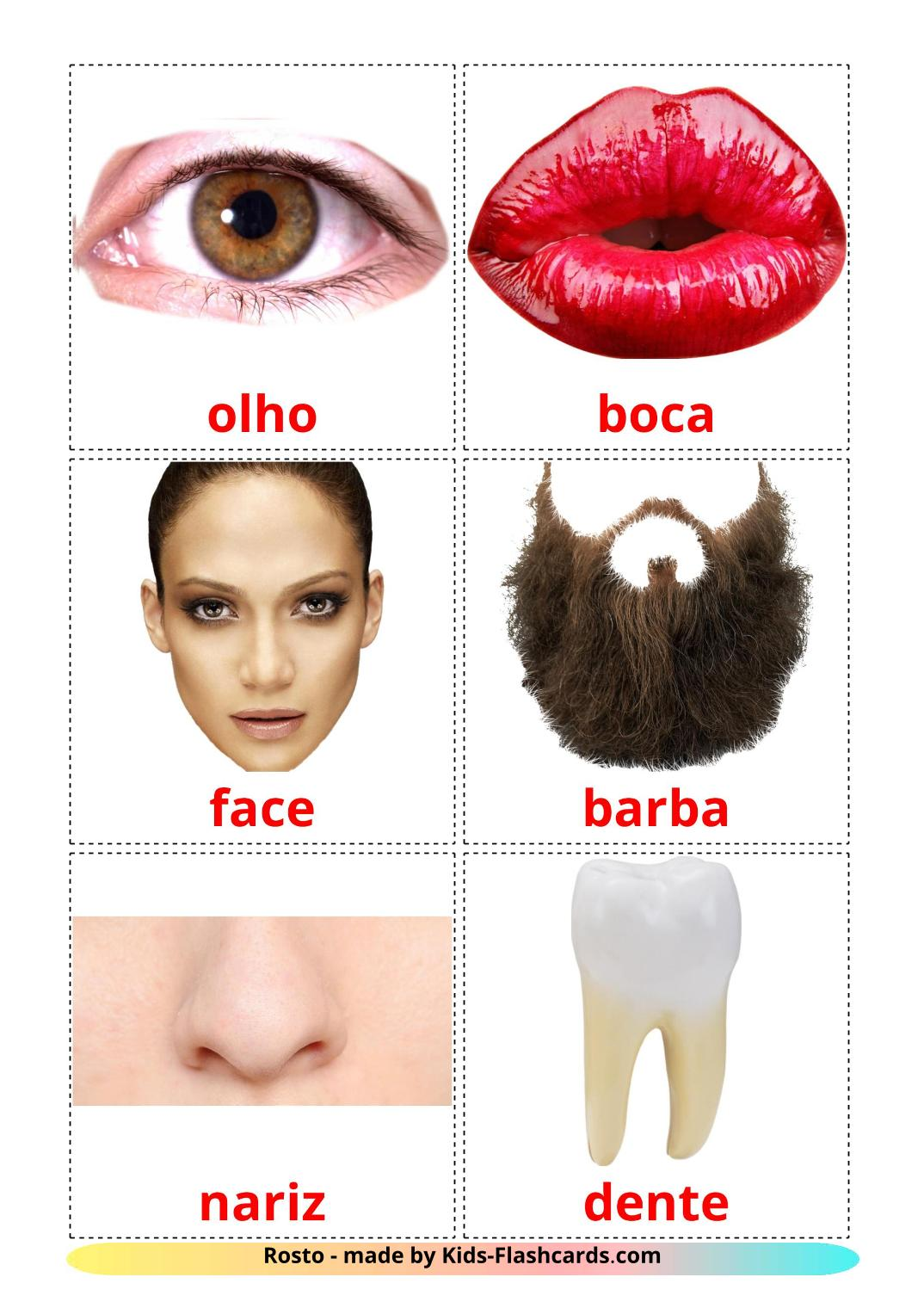 Face - 20 Free Printable portuguese Flashcards