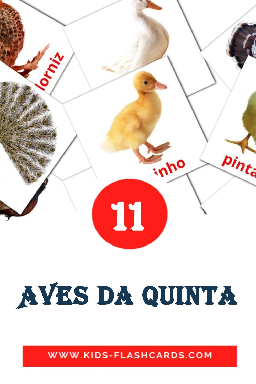 11 Aves da quinta Picture Cards for Kindergarden in portuguese