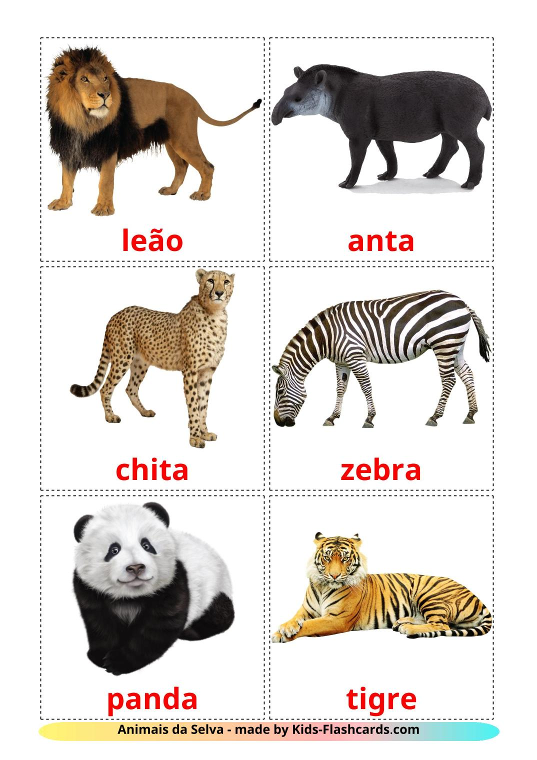 Jungle animals - 21 Free Printable portuguese Flashcards