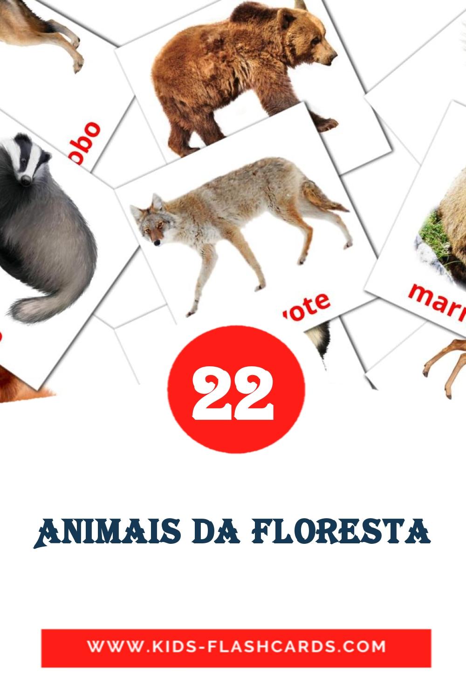 22 Animais da Floresta Picture Cards for Kindergarden in portuguese