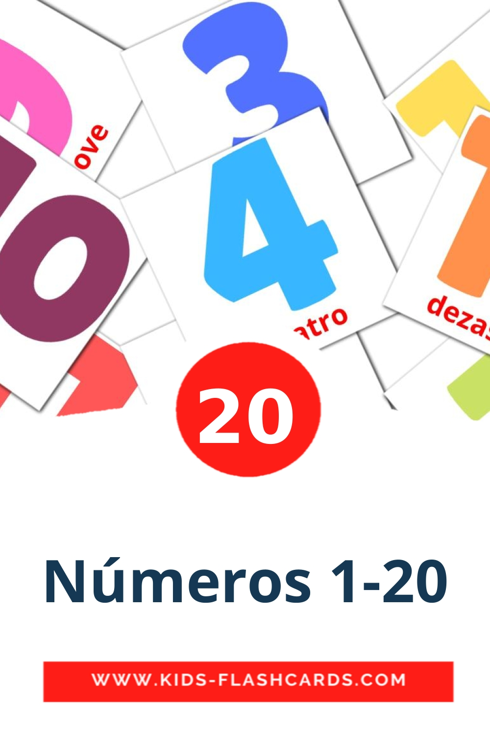 20 Números 1-20 Picture Cards for Kindergarden in portuguese