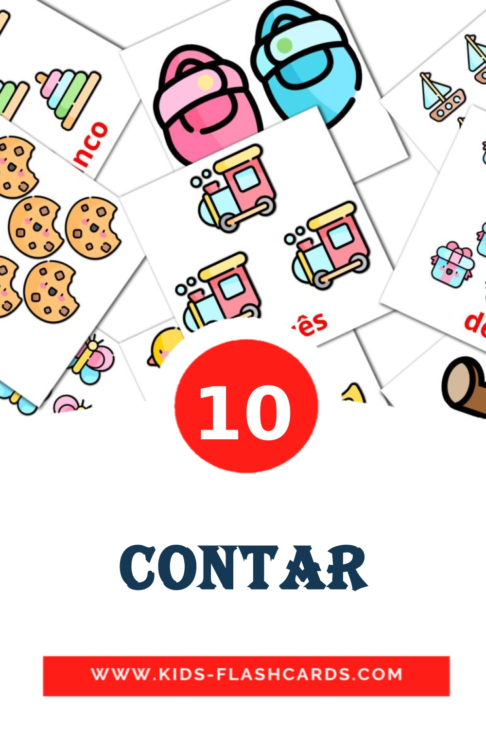 10 Contar Picture Cards for Kindergarden in portuguese