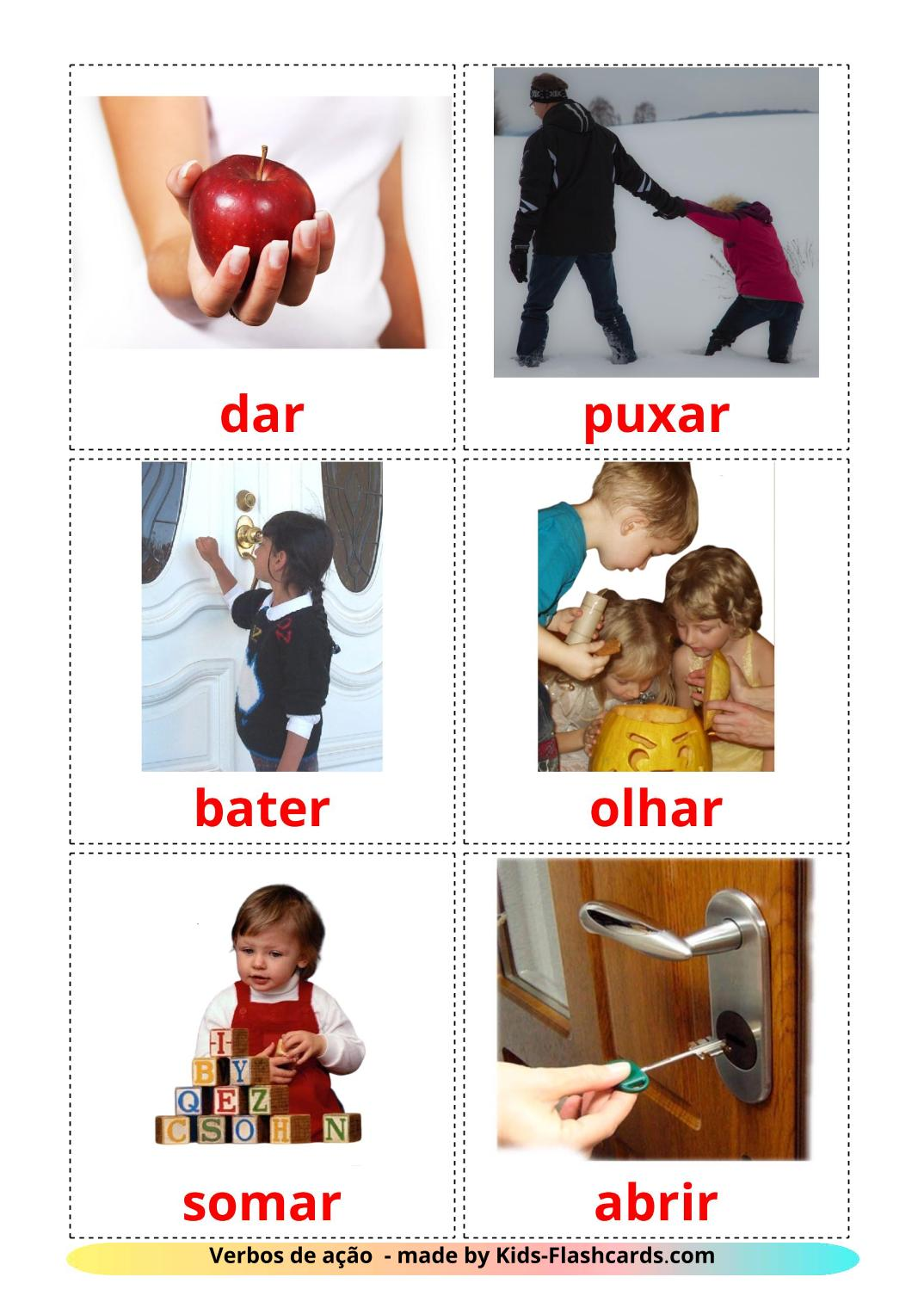 Action verbs - 55 Free Printable portuguese Flashcards