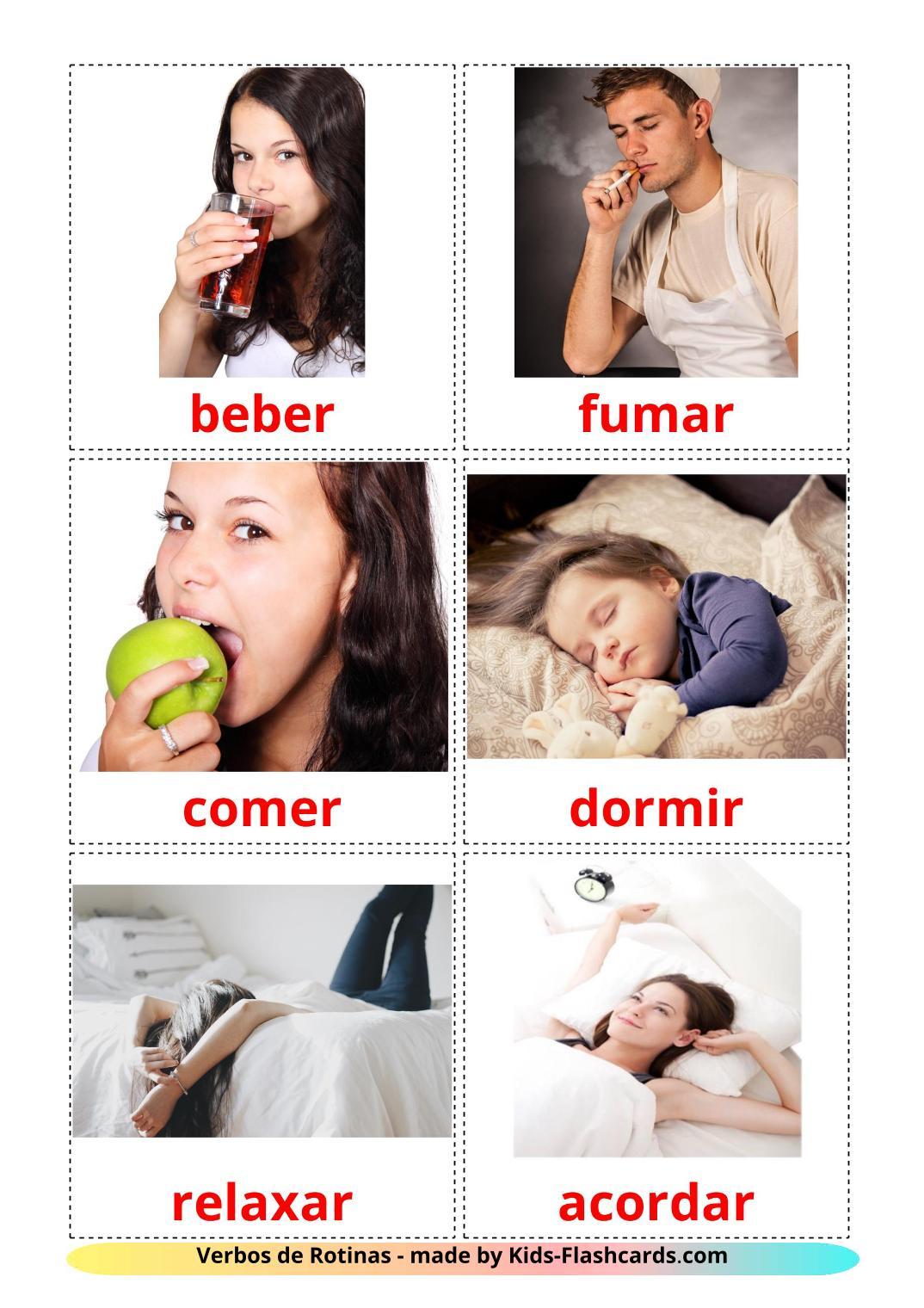 Routine verbs - 33 Free Printable portuguese Flashcards