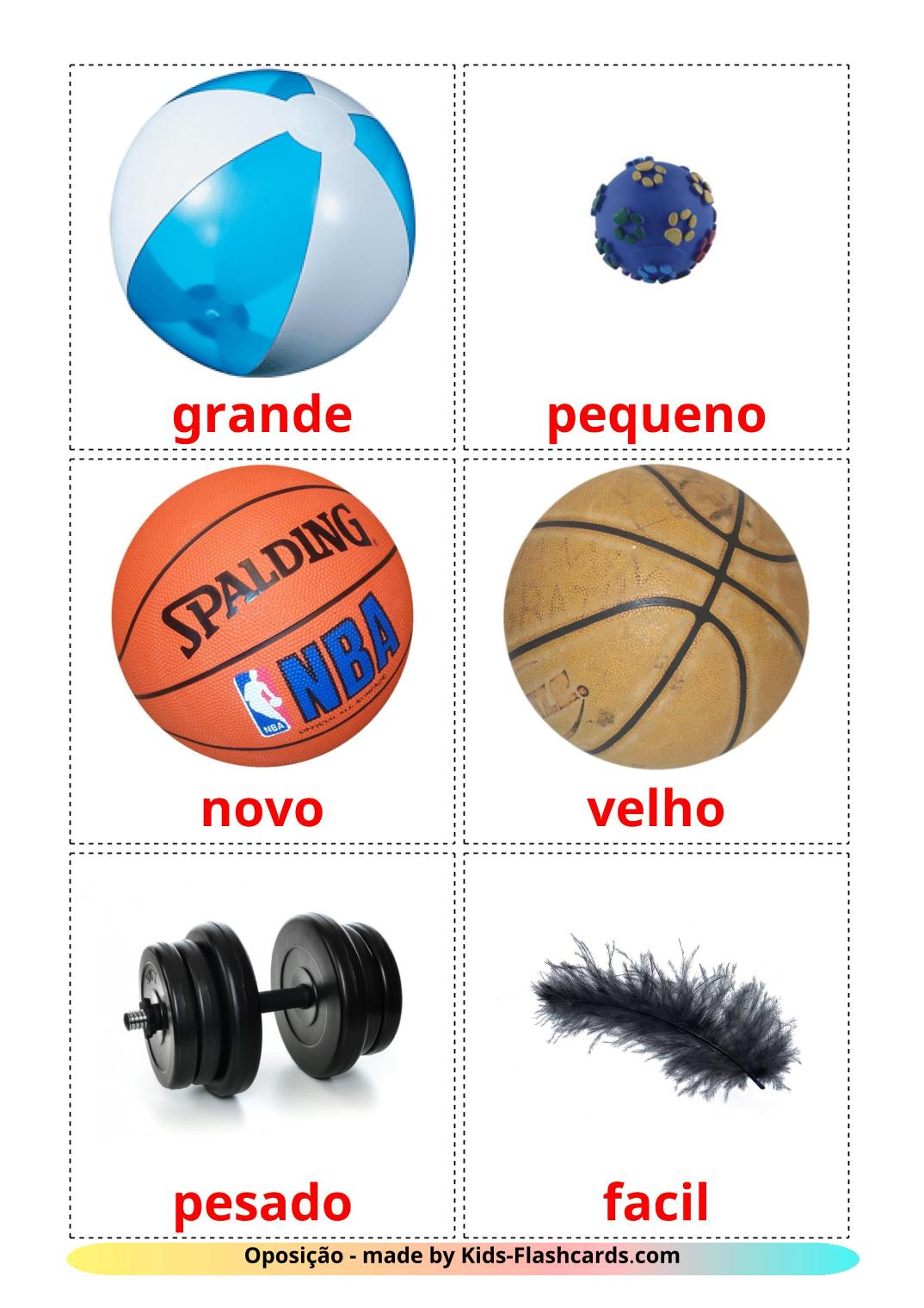 Opposites - 74 Free Printable portuguese Flashcards