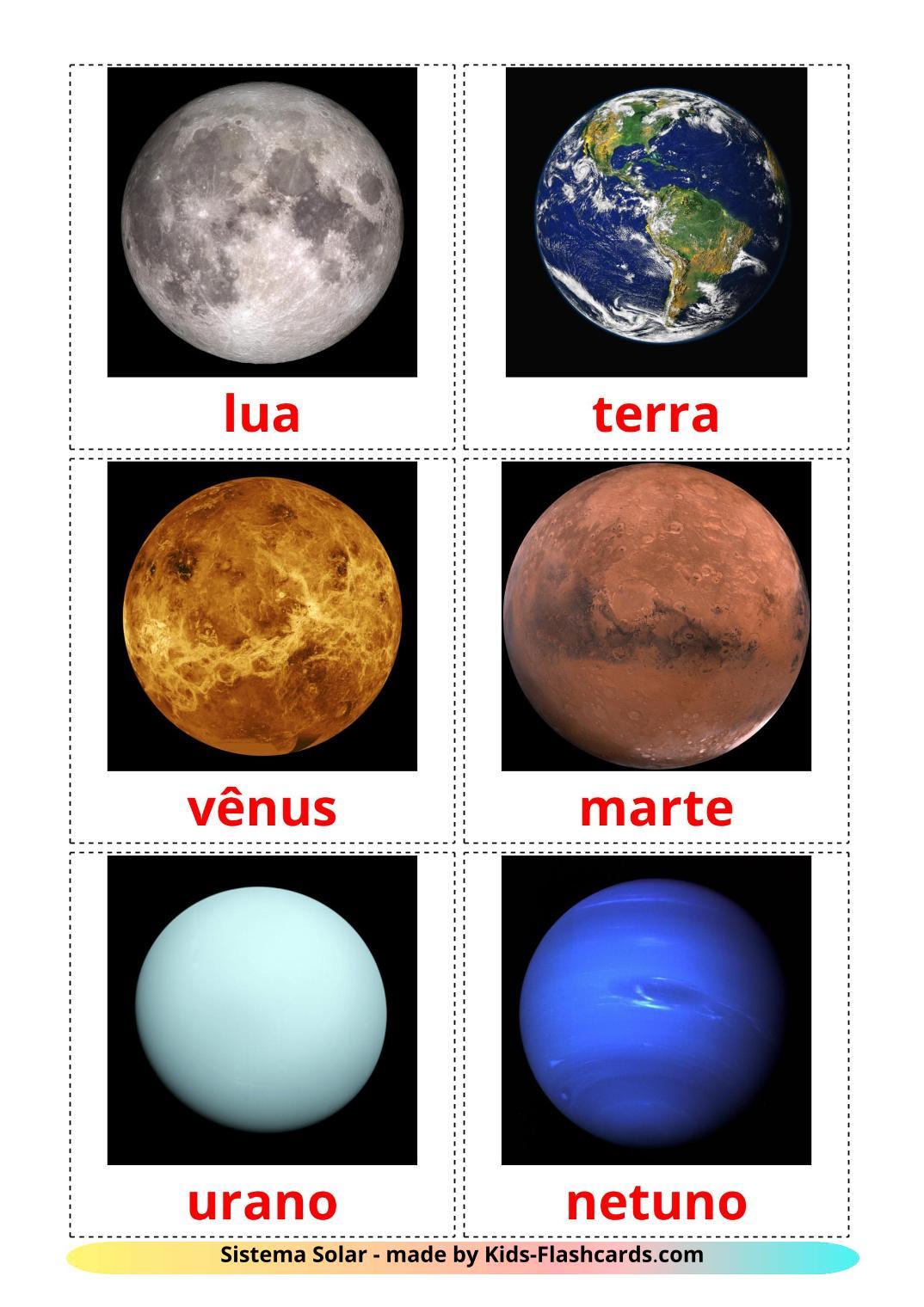Solar System - 20 Free Printable portuguese Flashcards