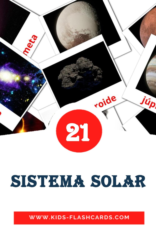 20 Sistema Solar Picture Cards for Kindergarden in portuguese