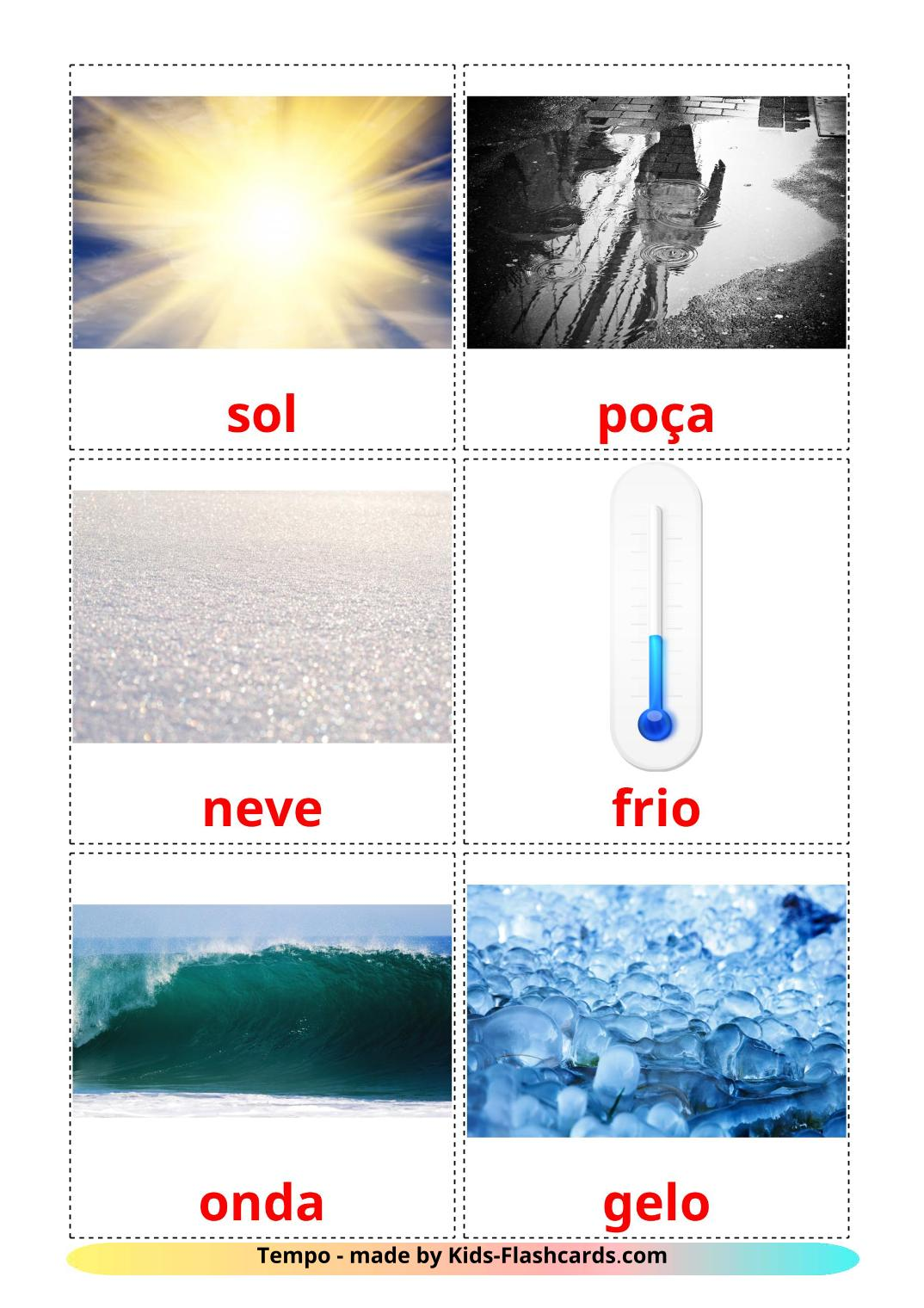 Weather - 31 Free Printable portuguese Flashcards