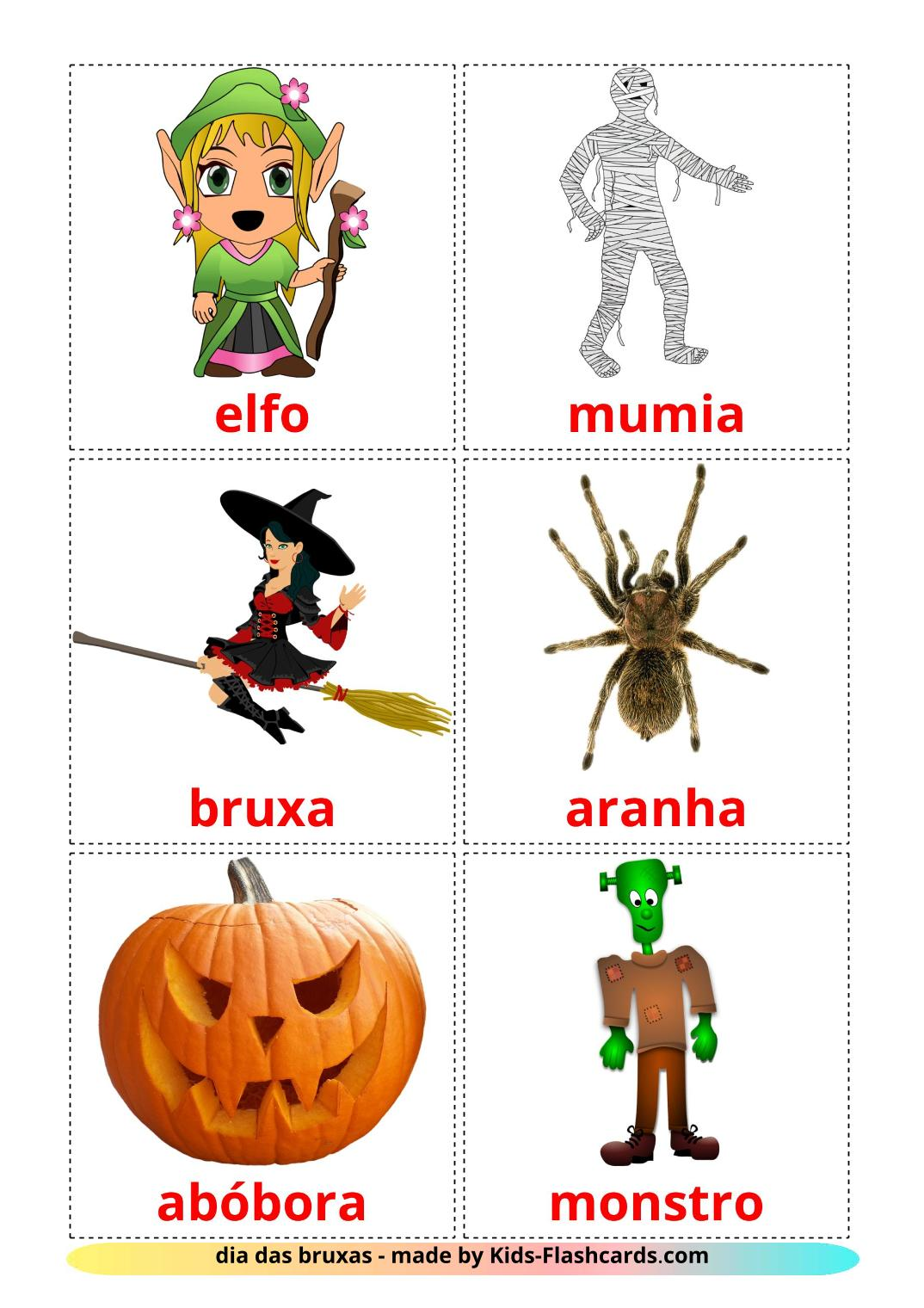 Halloween - 16 Free Printable portuguese Flashcards