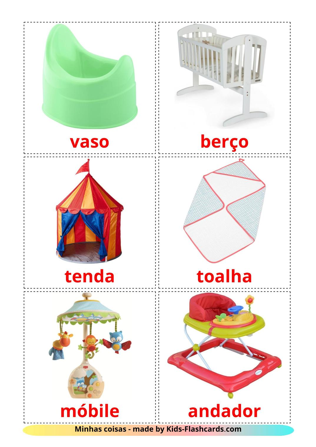 My Things - 20 Free Printable portuguese Flashcards
