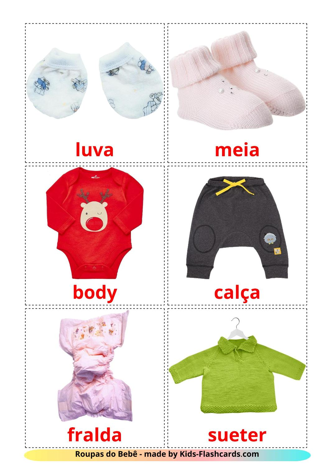 Baby clothes - 12 Free Printable portuguese Flashcards