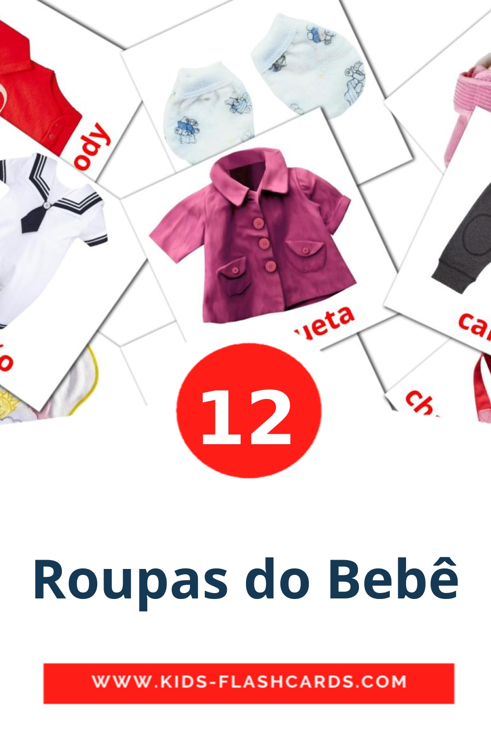 12 Roupas do Bebê Picture Cards for Kindergarden in portuguese