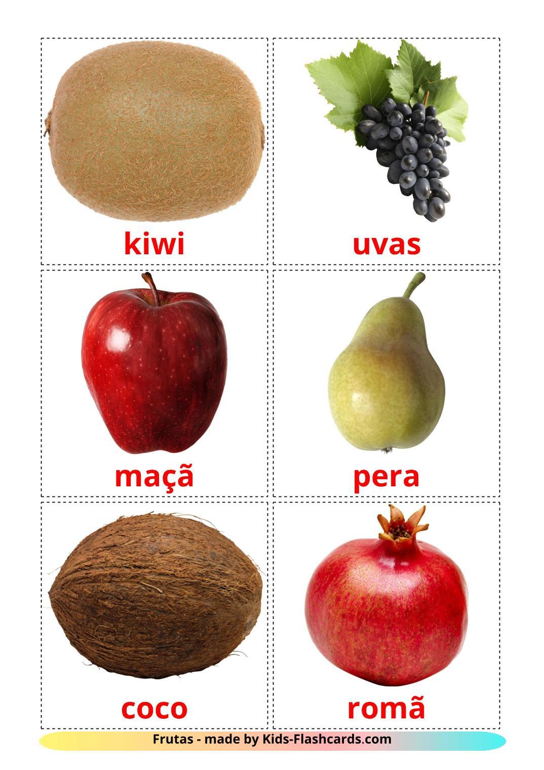 Fruits - 20 Free Printable portuguese Flashcards