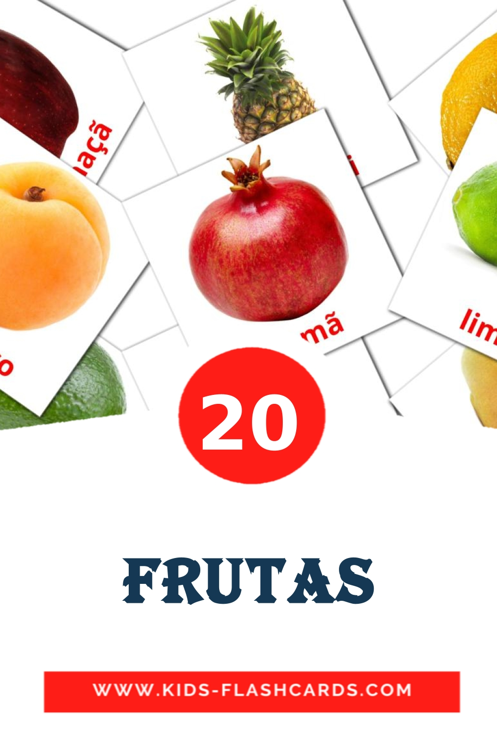 20 Frutas Picture Cards for Kindergarden in portuguese