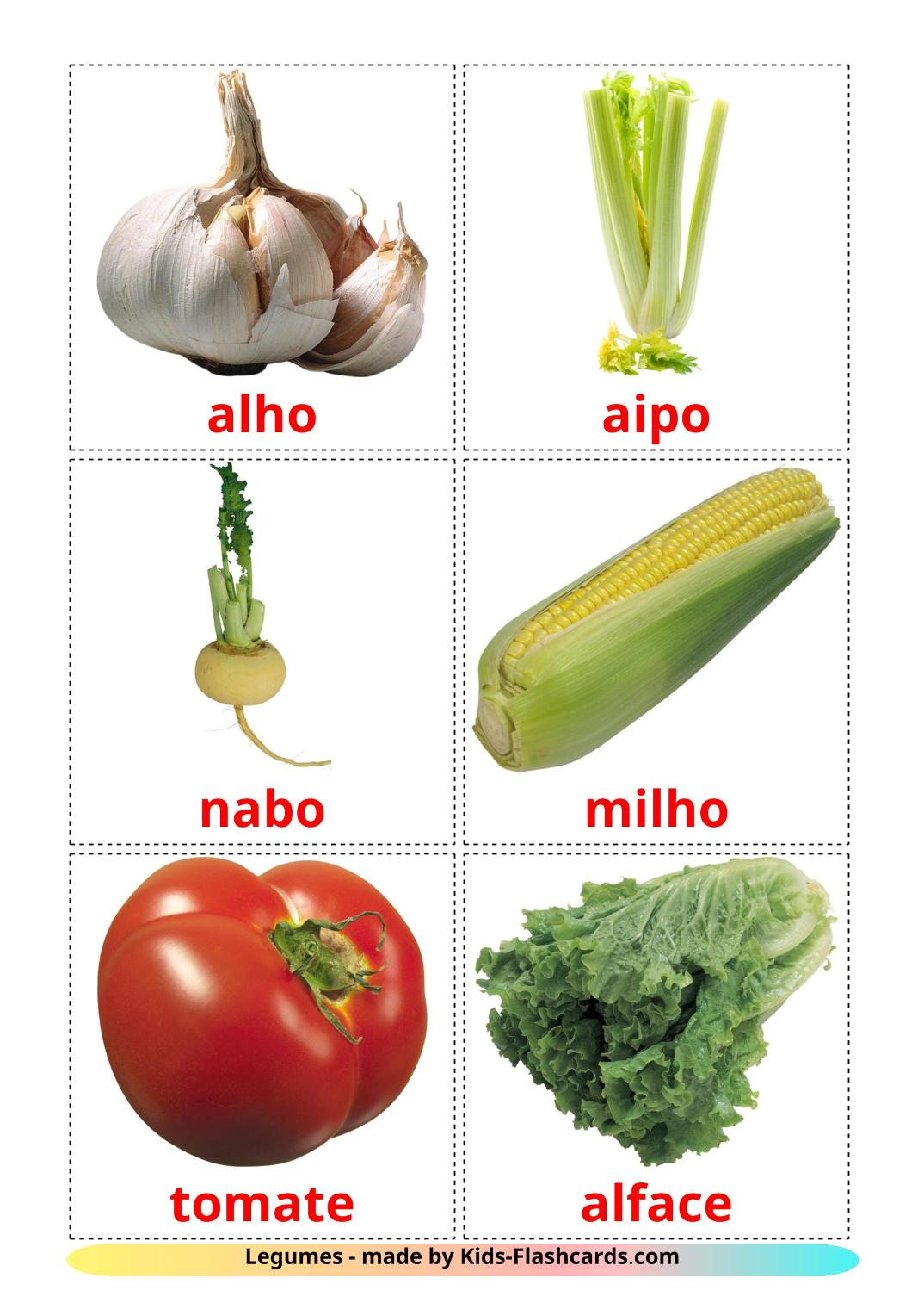 Vegetables - 29 Free Printable portuguese Flashcards