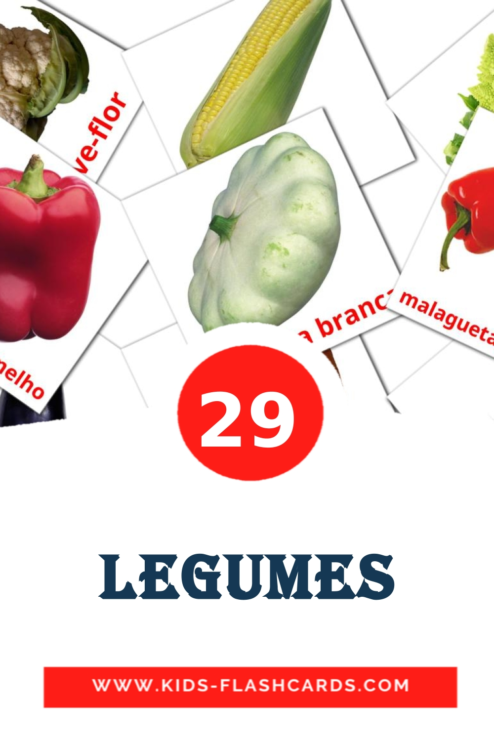 29 Legumes Picture Cards for Kindergarden in portuguese