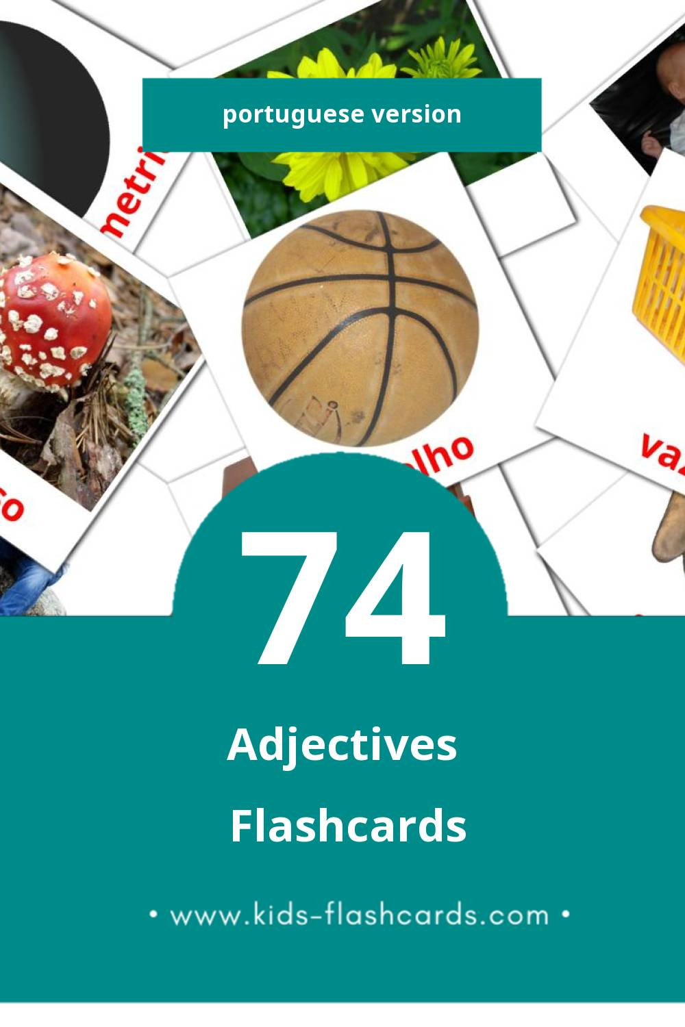 Visual Adjetivo Flashcards for Toddlers (74 cards in Portuguese)