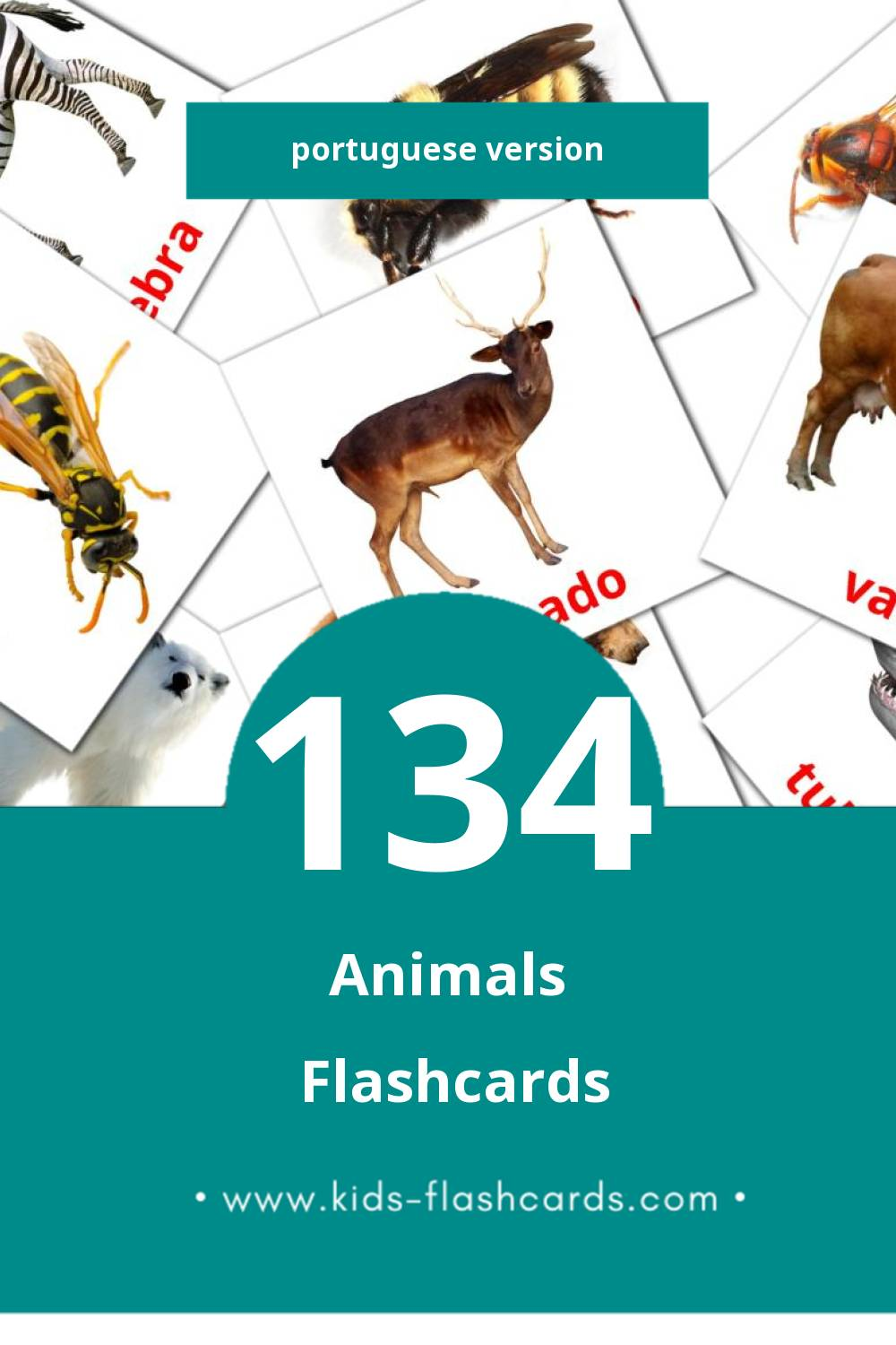 Visual Animais Flashcards for Toddlers (134 cards in Portuguese)