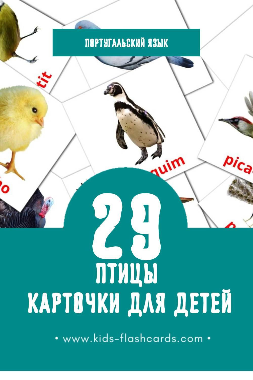 """""""Aves"""" - Визуальный Португальском Словарь для Малышей (29 картинок)"""