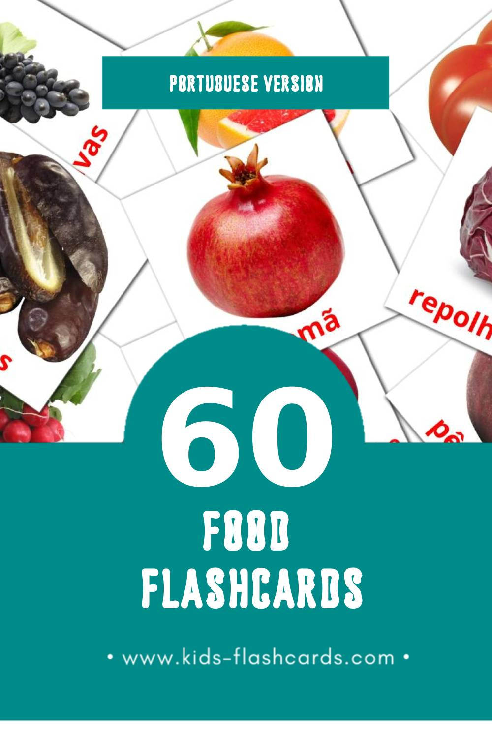 Visual Comida Flashcards for Toddlers (60 cards in Portuguese)