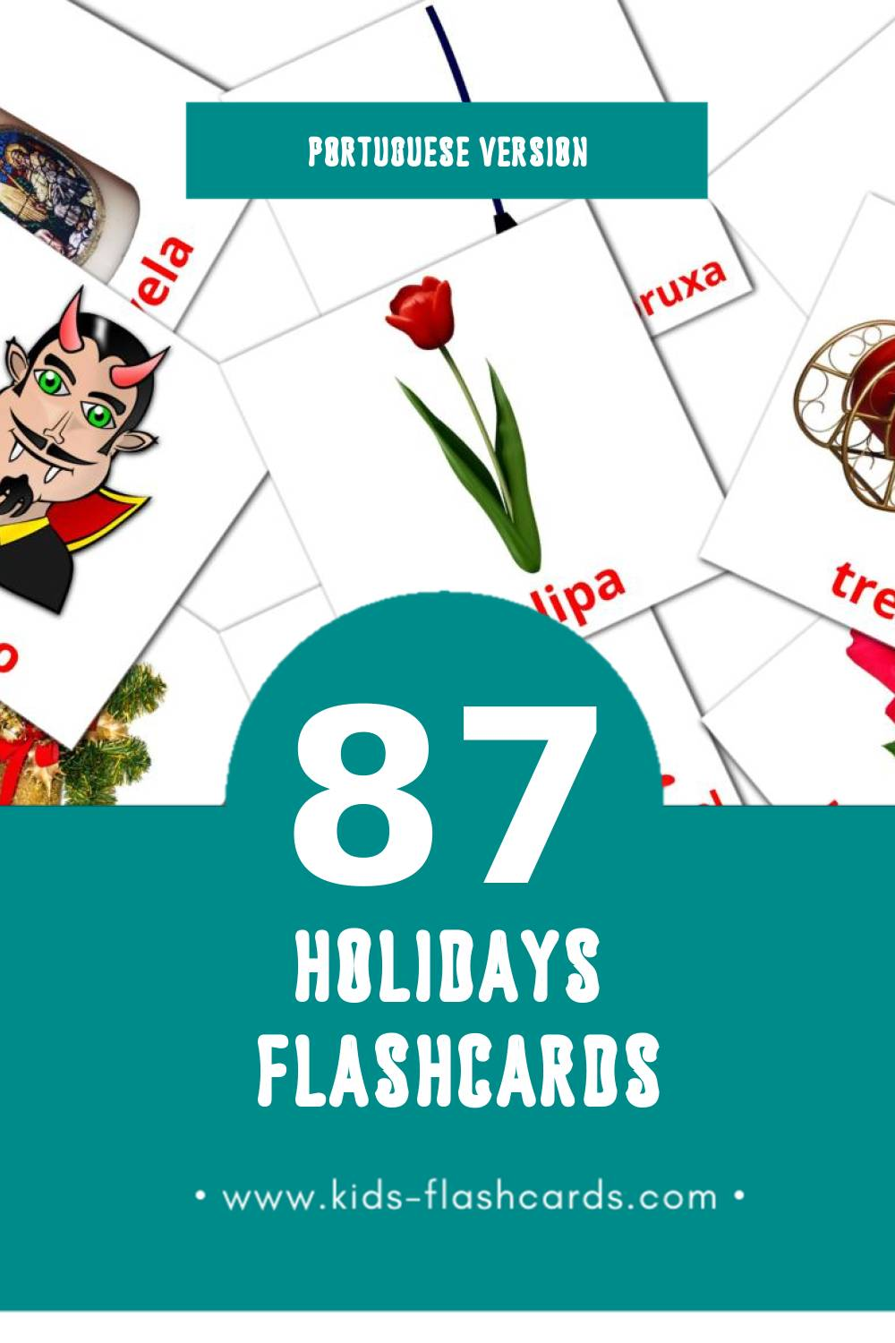 Visual Feriados Flashcards for Toddlers (87 cards in Portuguese)