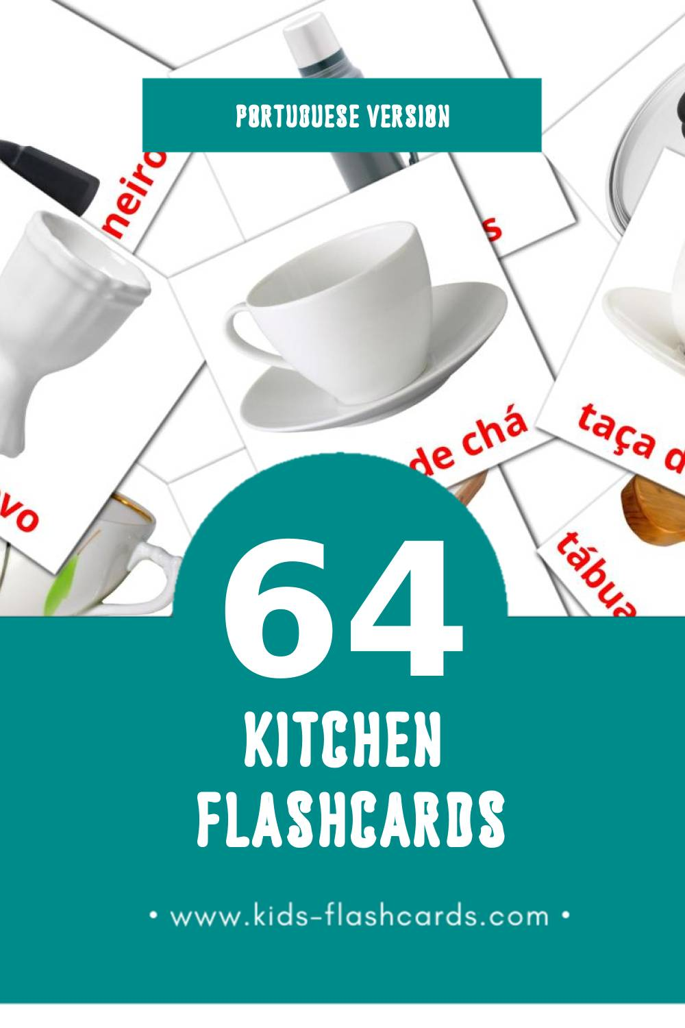 Visual Cozinha Flashcards for Toddlers (64 cards in Portuguese)