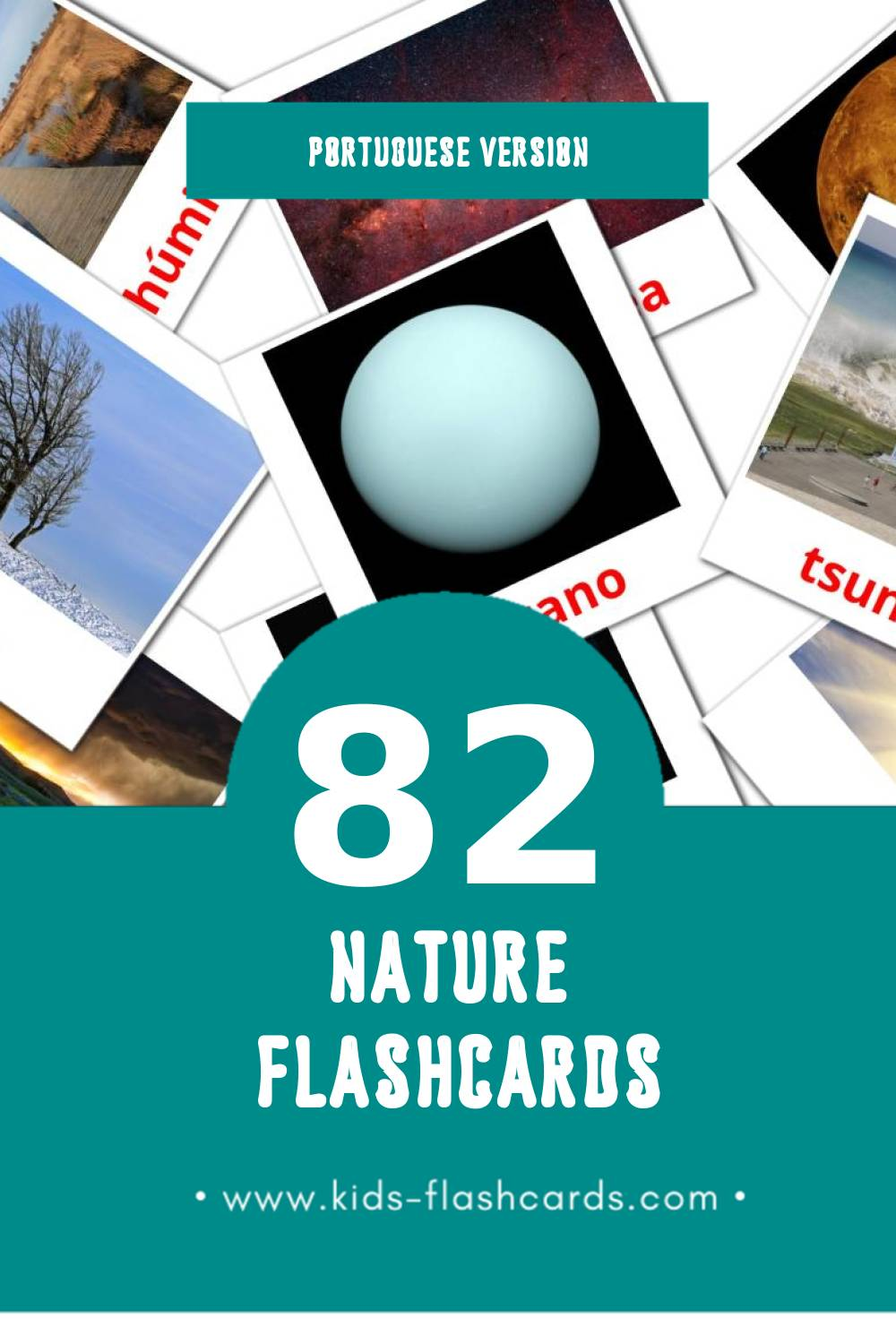 Visual Natureza Flashcards for Toddlers (51 cards in Portuguese)