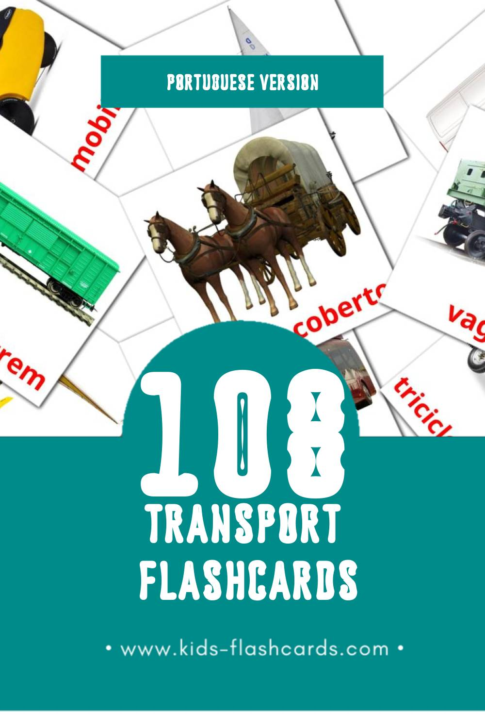 Visual Translate Bicycle transport set Flashcards for Toddlers (76 cards in Portuguese)