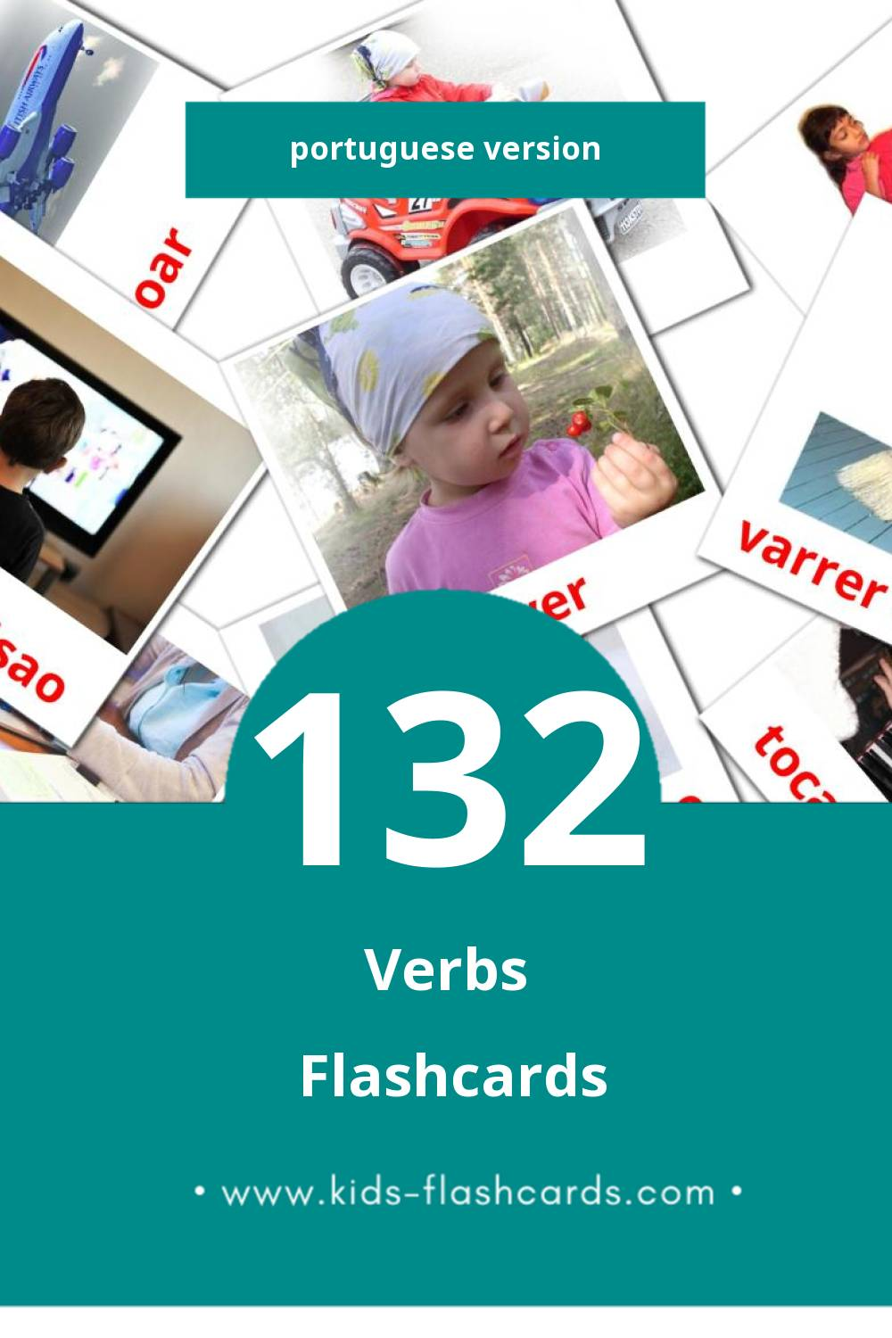 Visual VERBOS Flashcards for Toddlers (133 cards in Portuguese)