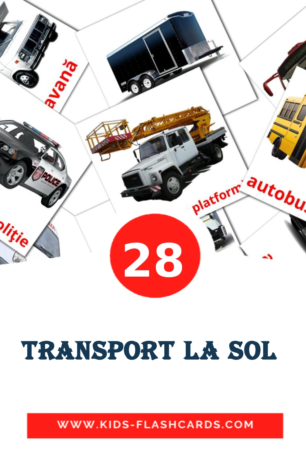 28 Transport la sol  Picture Cards for Kindergarden in romanian