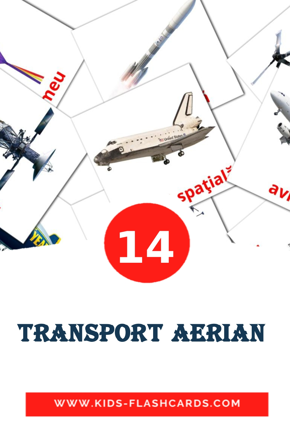 14 Transport aerian  Picture Cards for Kindergarden in romanian