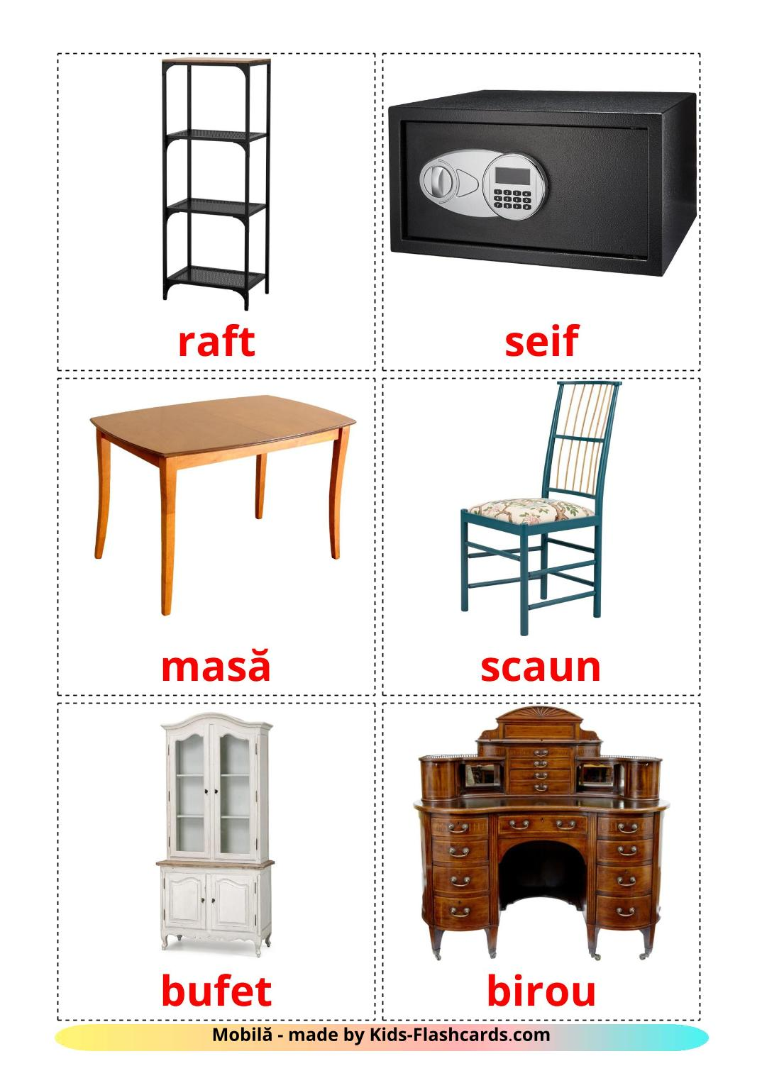 Furniture - 31 Free Printable romanian Flashcards