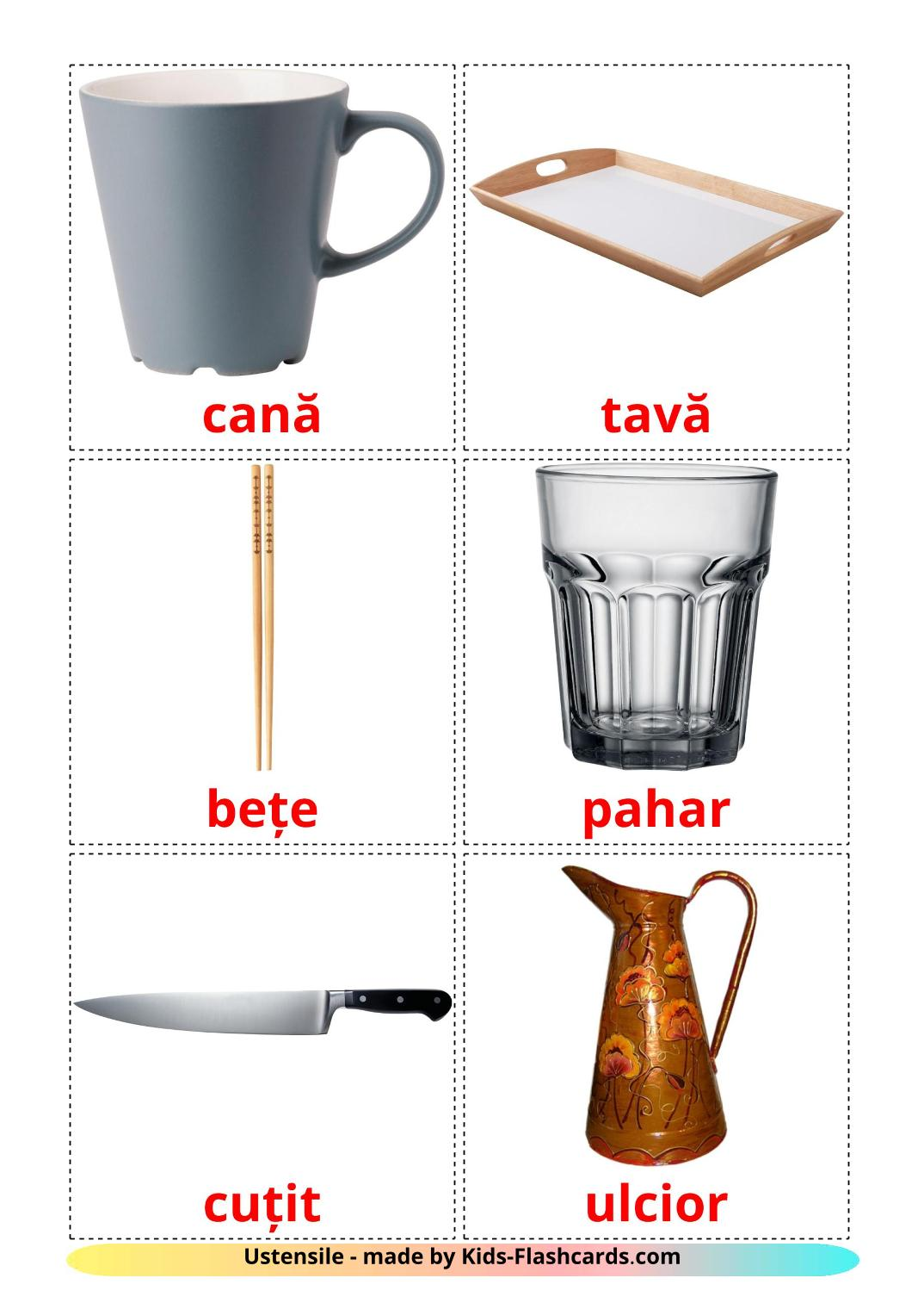 Crockery and cutlery - {2} Free Printable romanian Flashcards