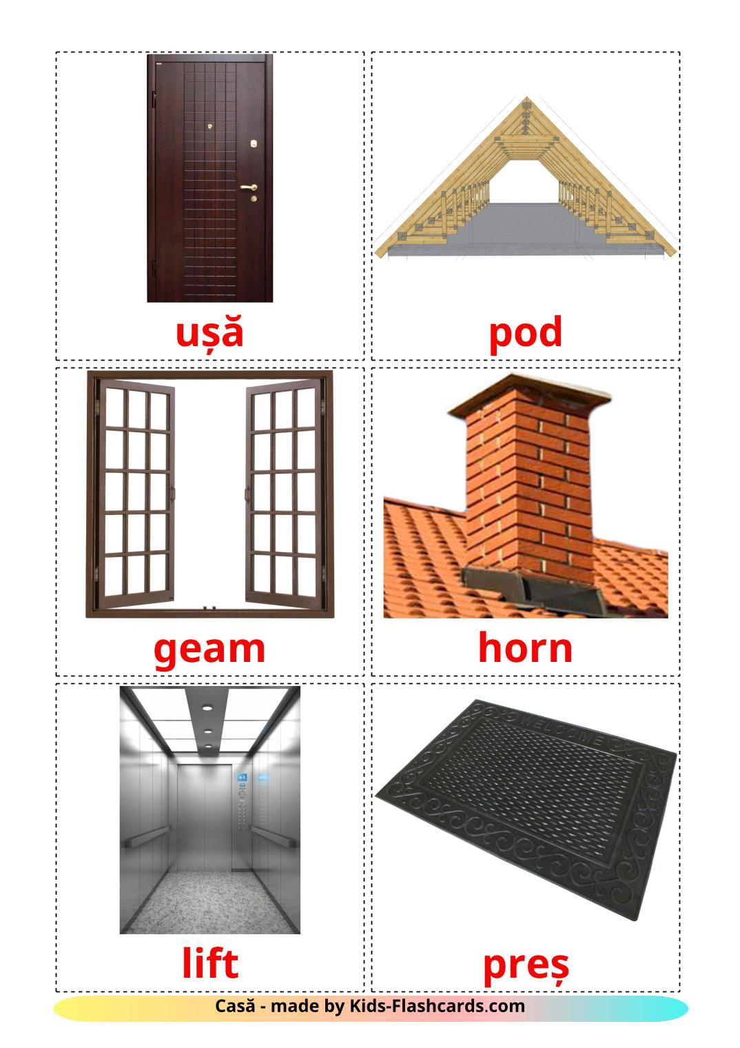 House - 25 Free Printable romanian Flashcards