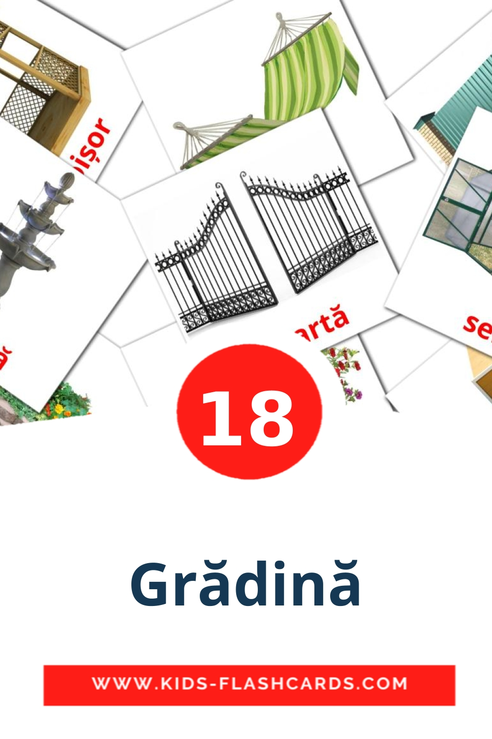 18 Grădină Picture Cards for Kindergarden in romanian