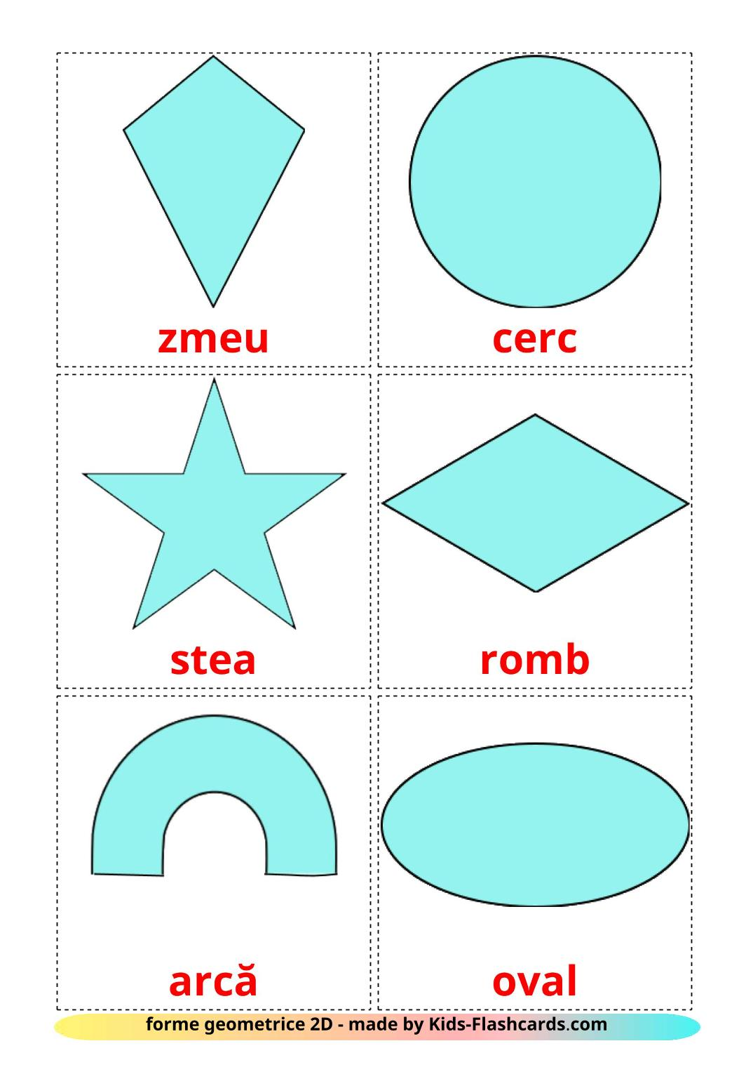 2D Shapes - 35 Free Printable romanian Flashcards