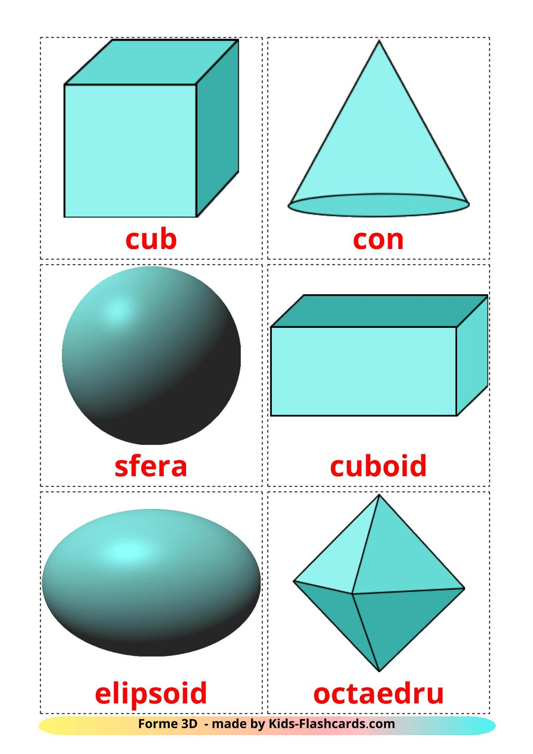 3D Shapes - 17 Free Printable romanian Flashcards