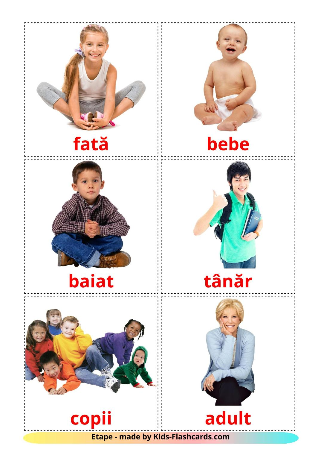 Stages - 12 Free Printable romanian Flashcards