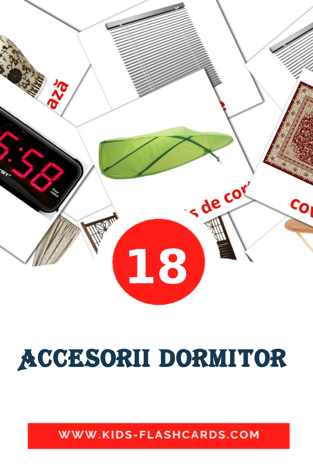 18 Accesorii dormitor  Picture Cards for Kindergarden in romanian