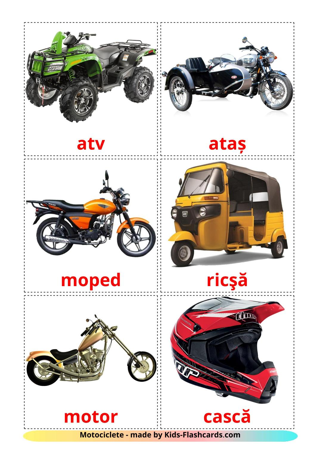 Motorcycles - 14 Free Printable romanian Flashcards