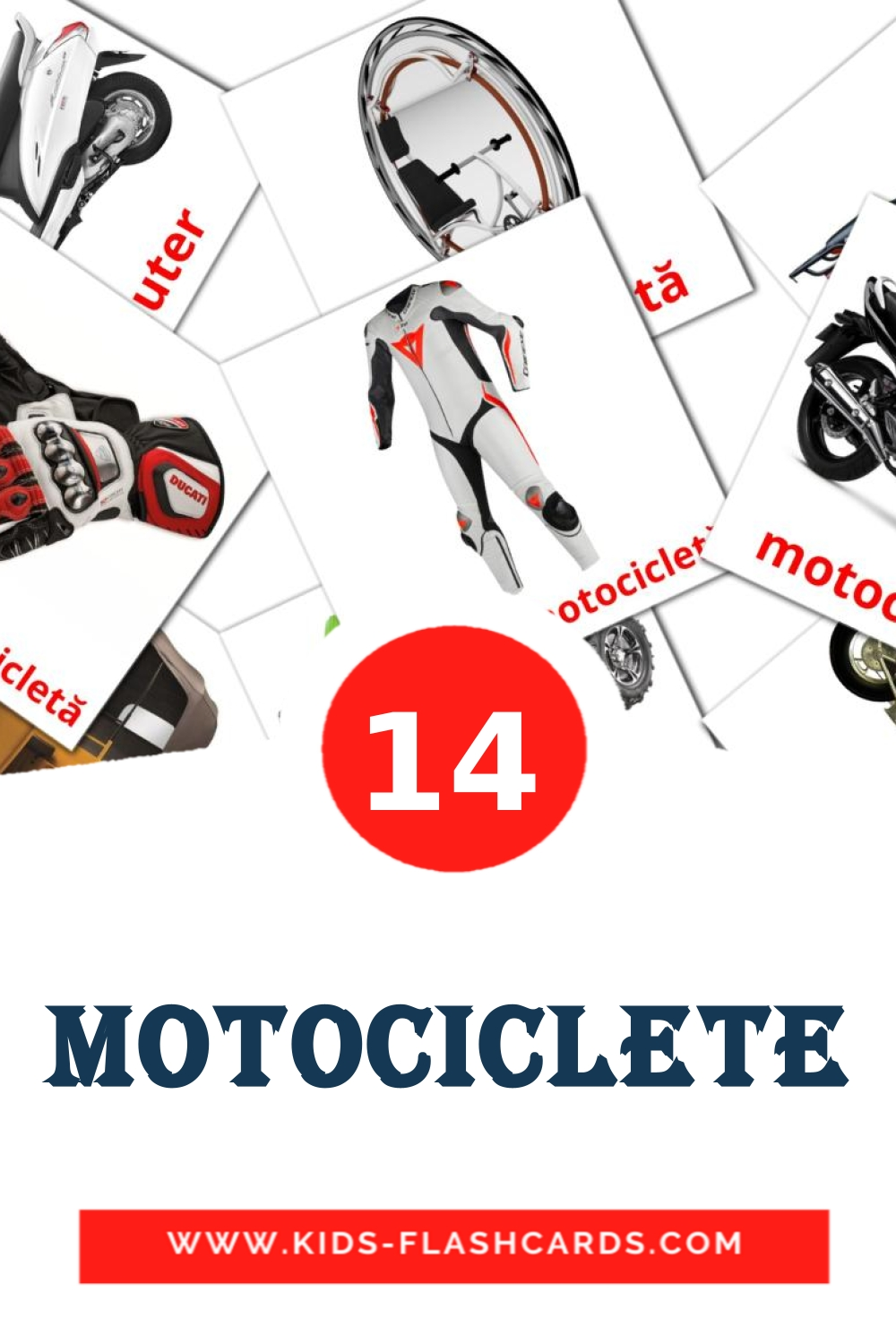 14 Motociclete Picture Cards for Kindergarden in romanian