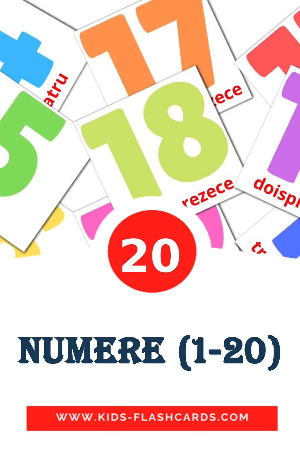 20 Numere (1-20) Picture Cards for Kindergarden in romanian