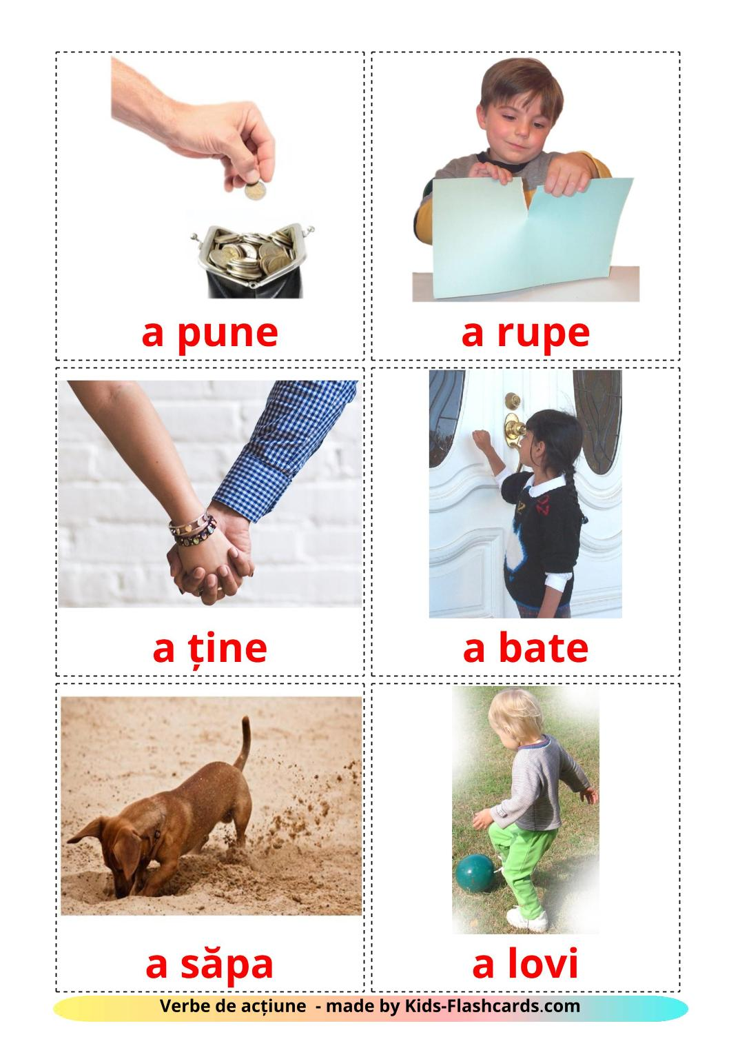 Action verbs - 55 Free Printable romanian Flashcards