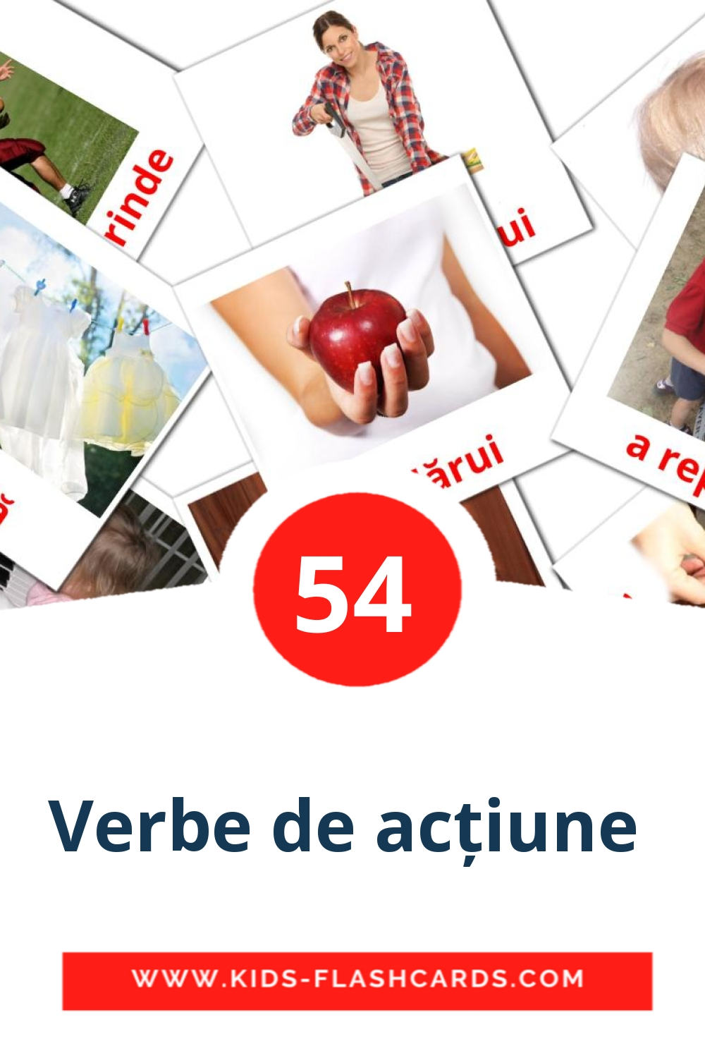 55 Verbe de acțiune  Picture Cards for Kindergarden in romanian